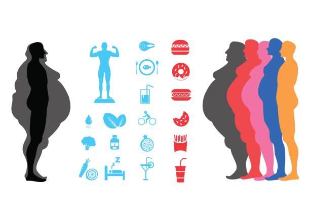 illustrazioni stock, clip art, cartoni animati e icone di tendenza di fat body, weight loss, overweight silhouette illustration - obesity