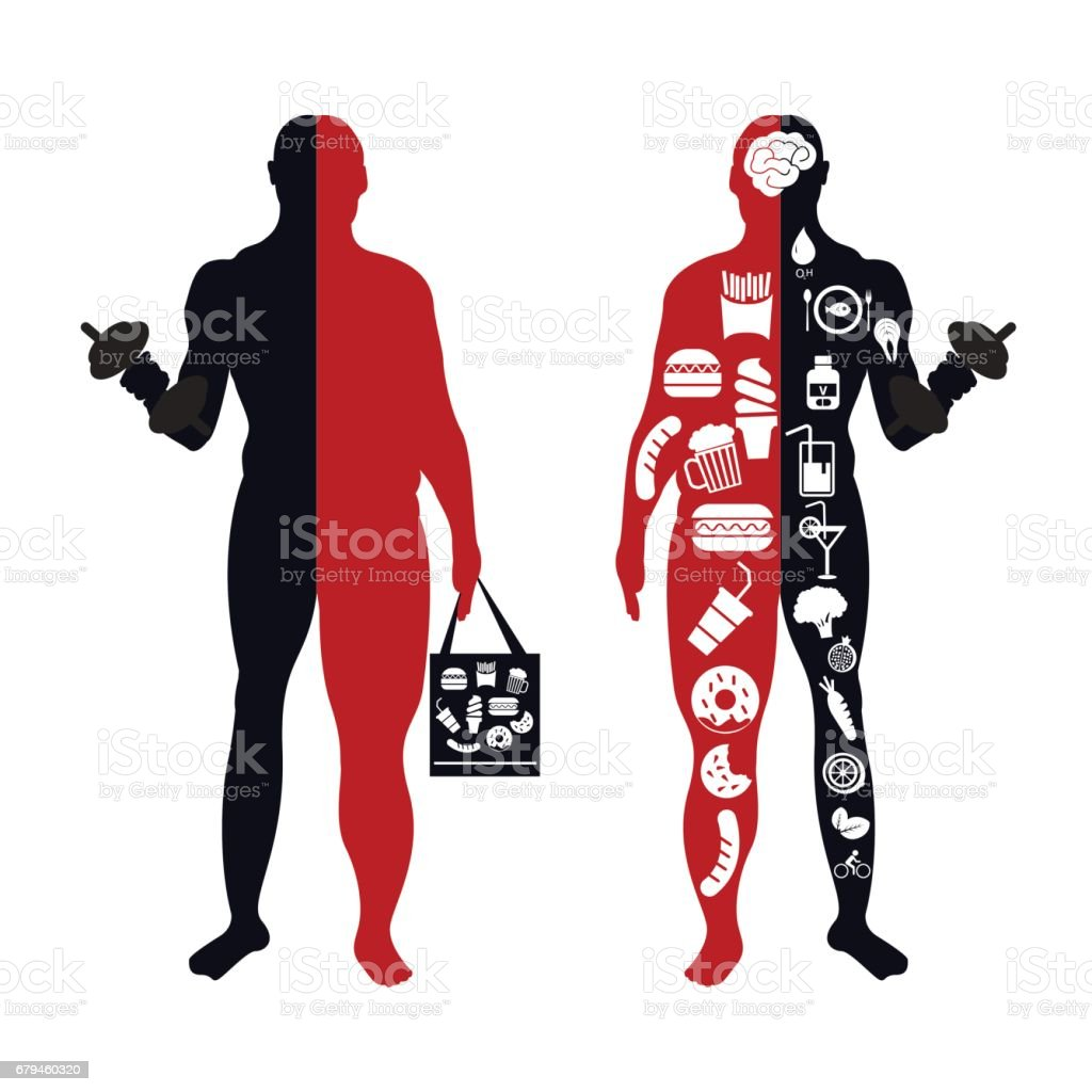 fat body, weight loss, overweight silhouette illustration royalty-free fat body weight loss overweight silhouette illustration stock vector art & more images of adult