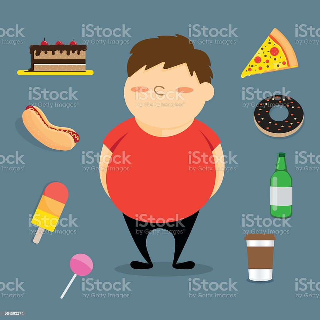 Fat boy and fast food. vector art illustration