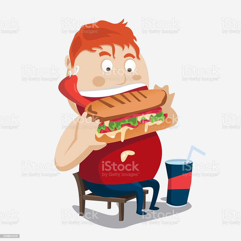 fat boy burger vector art illustration