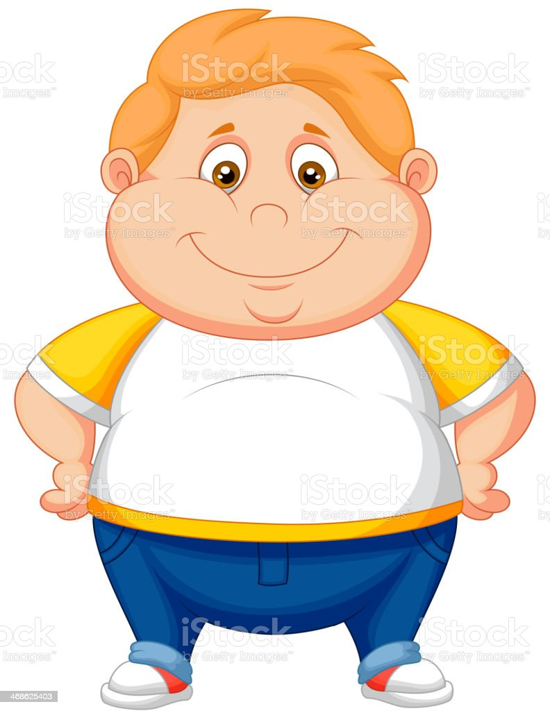 Fat boy cartoon posing vector art illustration