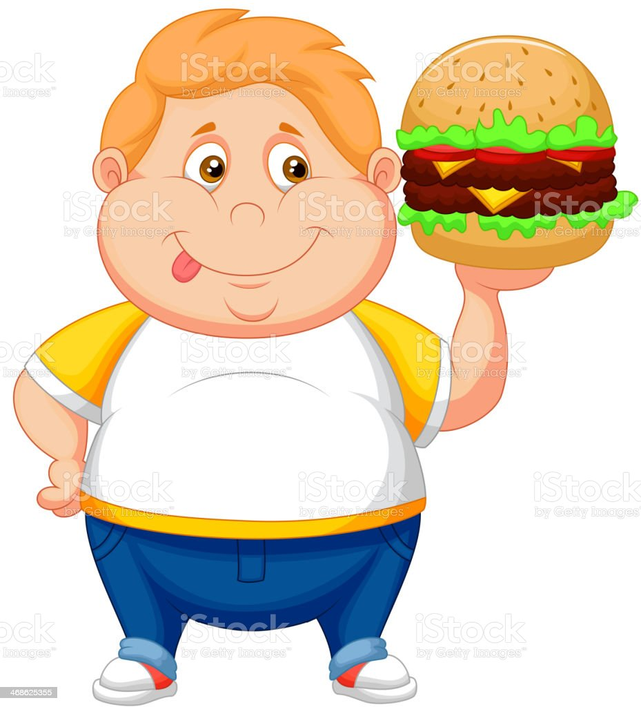 Fat Boy Cartoon Smiling And Ready To Eat A Hamburger Stock Vector Art U0026 More Images Of Adult ...