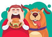 vector illustration of fat boy eating hamburger with dog