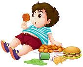 Fat boy eating junkfood