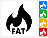 Fat Burning Icon Flat Graphic Design