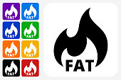 Fat Burning Icon Square Button Set. The icon is in black on a white square with rounded corners. The are eight alternative button options on the left in purple, blue, navy, green, orange, yellow, black and red colors. The icon is in white against these vibrant backgrounds. The illustration is flat and will work well both online and in print.