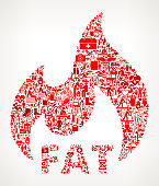 Fat Burning  Medical Rehabilitation Physical Therapy. The medical and rehabilitation icons fill in the main object and form a seamless pattern. The individual icons vary in shade of the red color and scale. They are carefully arranged together and completely fill the outline of the main shape. The icons include such Medical Rehabilitation Physical Therapy icons as medical supplies, first aid kit, people and therapist images and many more icons.