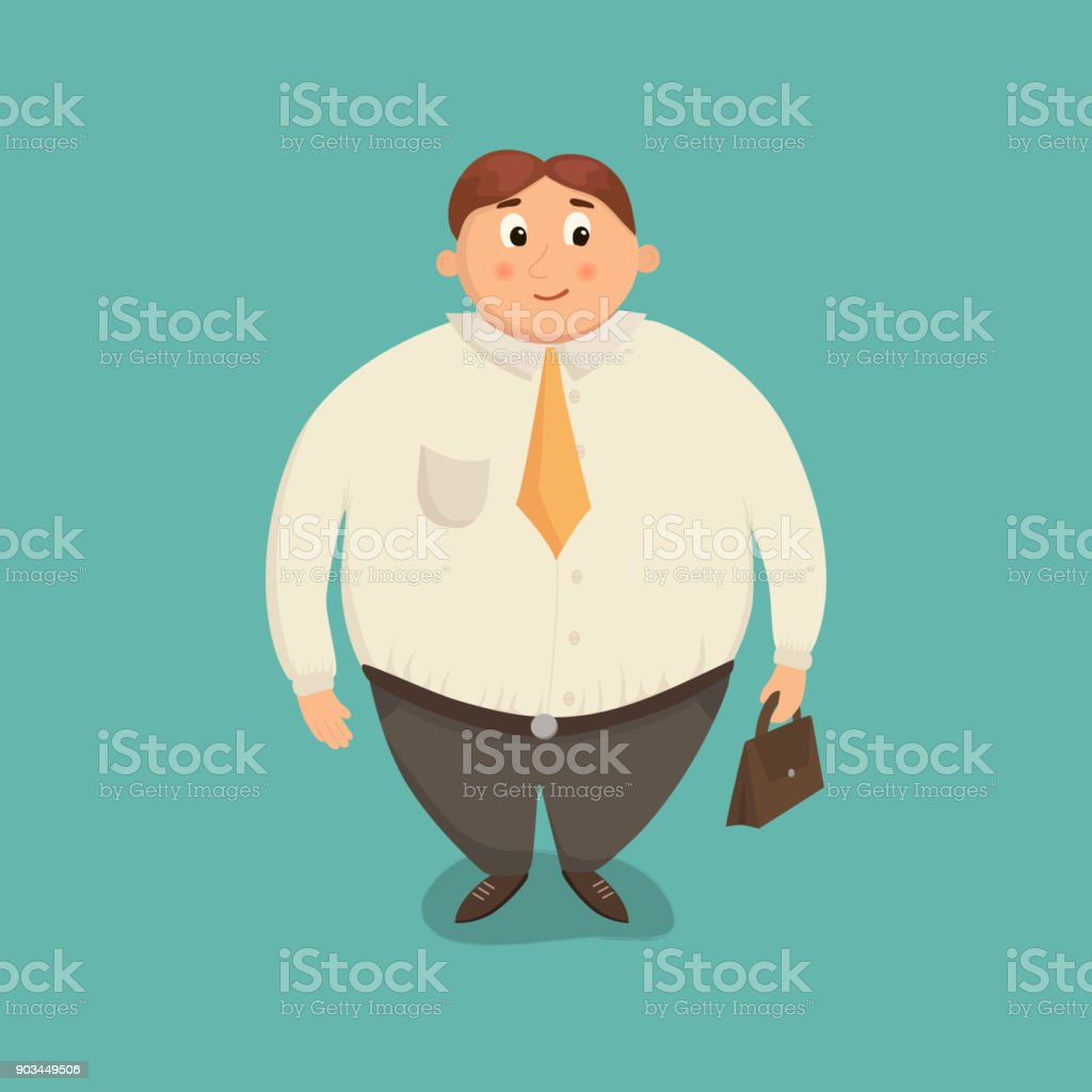 Fat business man. vector art illustration