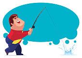 fat businessman fishing
