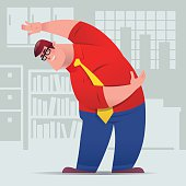 vector illustration of fat businessman stretching in office……