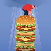 vector illustration of fat businessman standing on big hamburger…