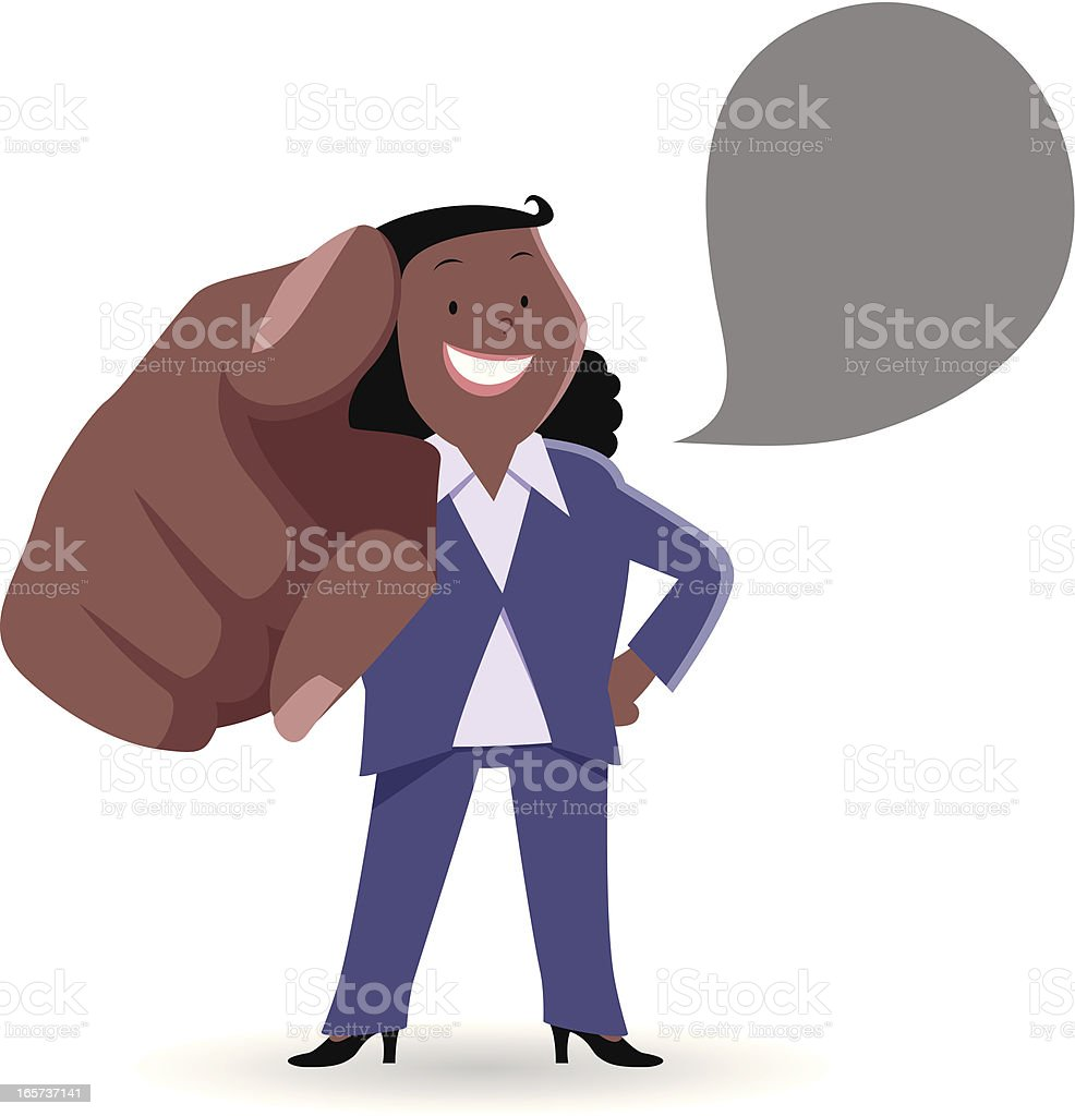 Fat Businesswoman smiling and pointing at you vector art illustration