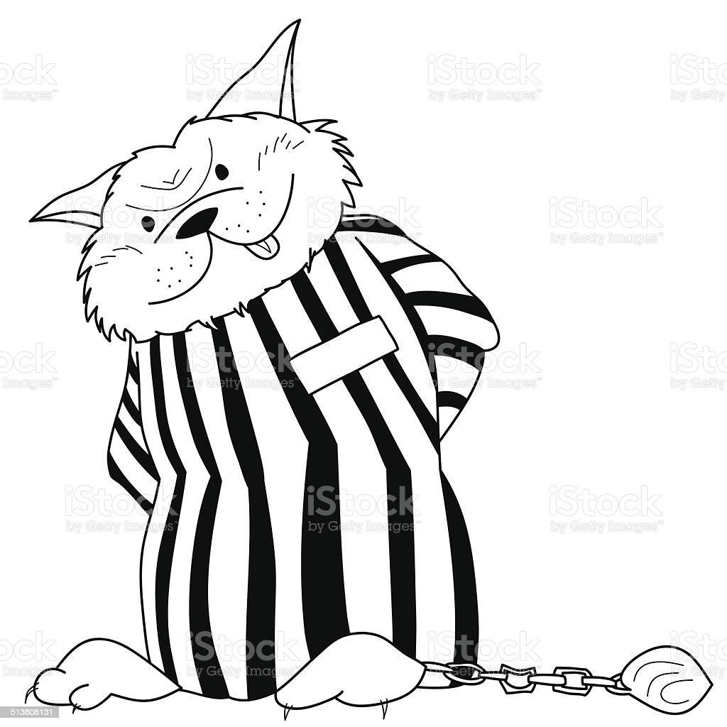 Fat cartoon cat in jail uniform. vector art illustration