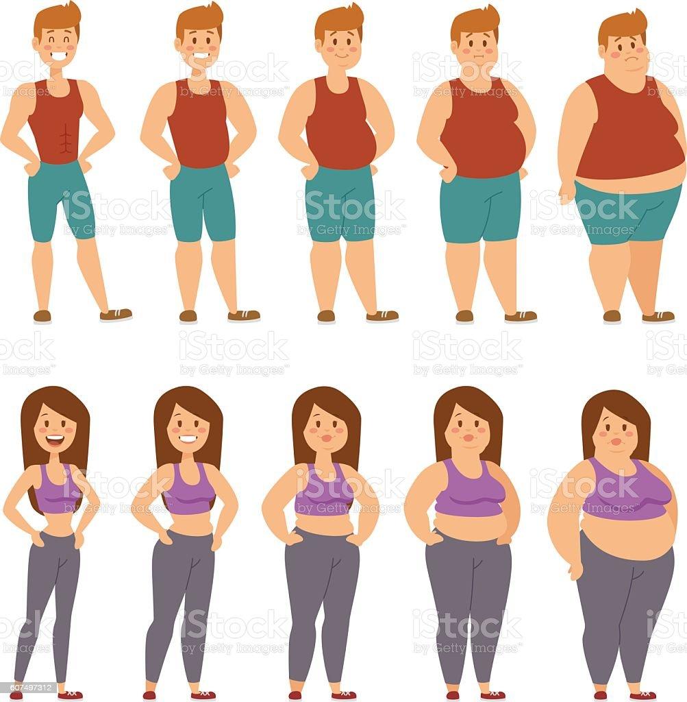 Fat cartoon people different stages vector illustration - Grafika wektorowa royalty-free (Biały)
