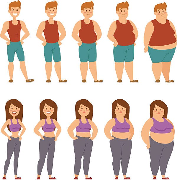 Fat cartoon people different stages vector illustration Fat woman and man cartoon style different stages vector illustration. Fat problems. Health care. Fast food, sport and fat people. Obesity process people illustration. Fat less concept weight loss stock illustrations