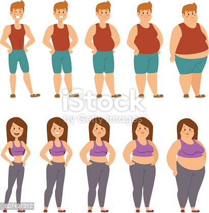 Fat Cartoon People Different Stages Vector Illustration ...