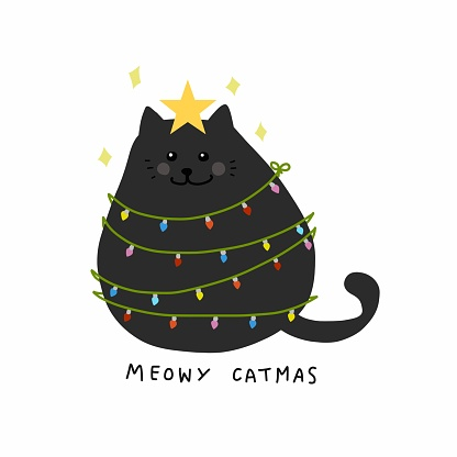 Fat cat act to be Christmas tree with colorful lightbulb, Meowy Catmas cartoon vector illustration