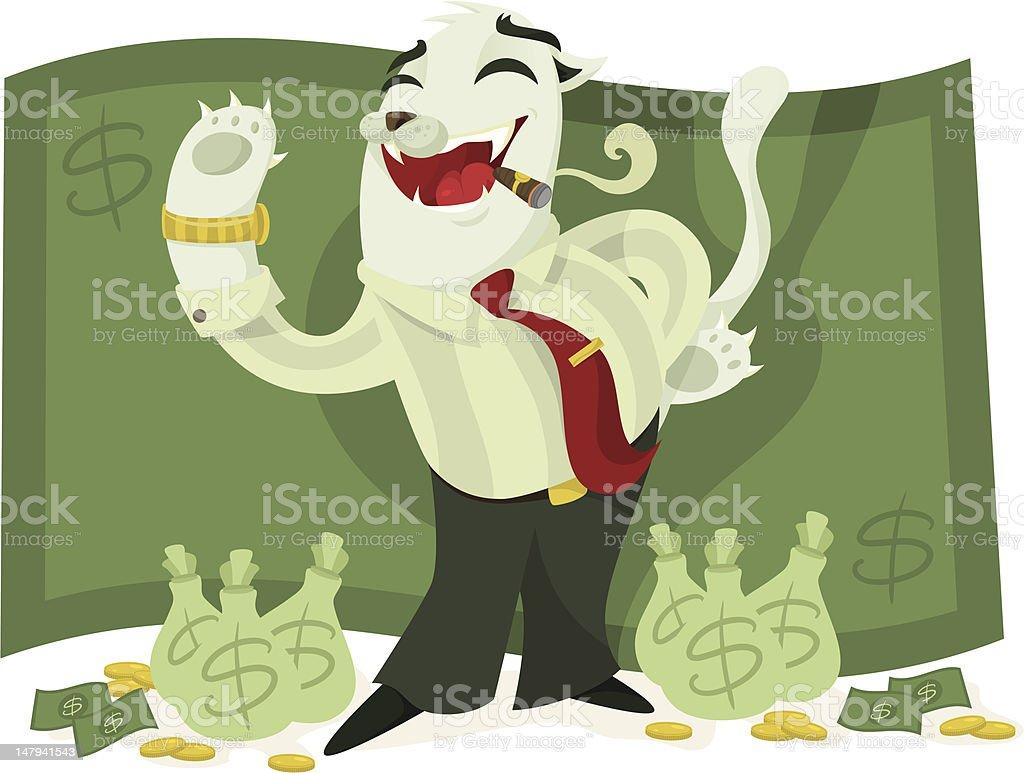 Fat Cat Business Man vector art illustration