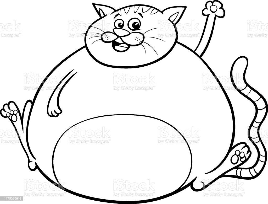 Ilustración De Gato Gordo Personaje De Dibujos Animados