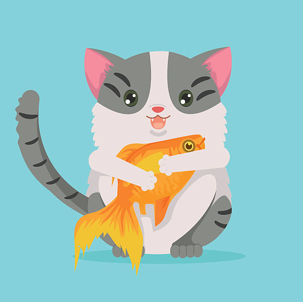 Fat cat character hold gold fish. Vector flat cartoon illustration - ilustración de arte vectorial