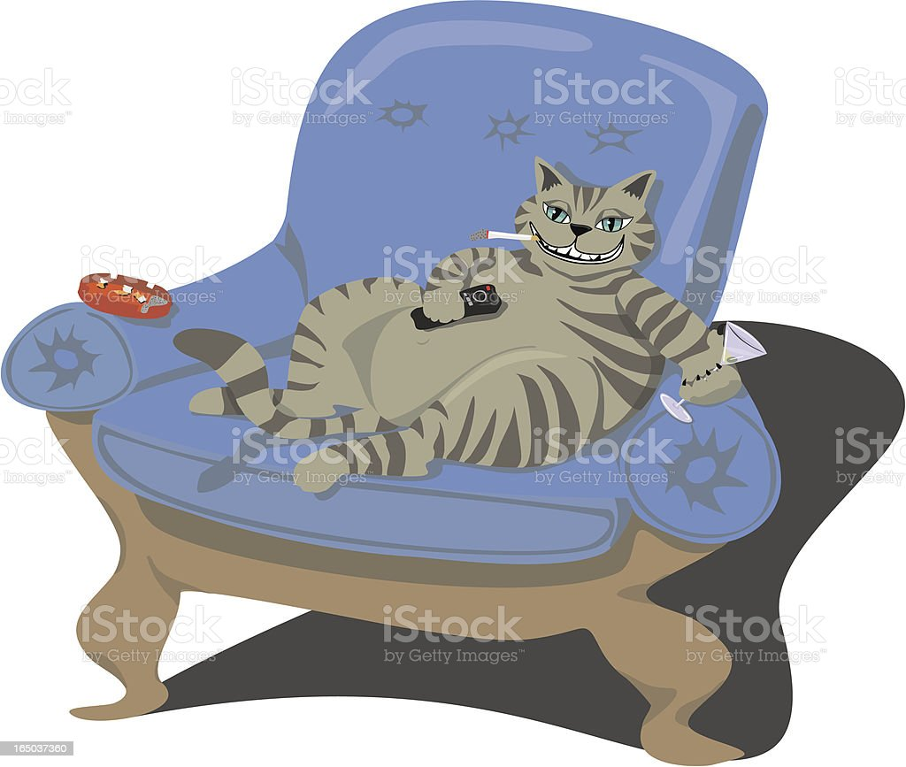Fat Cat - Home Alone Smoking and Driking royalty-free stock vector art