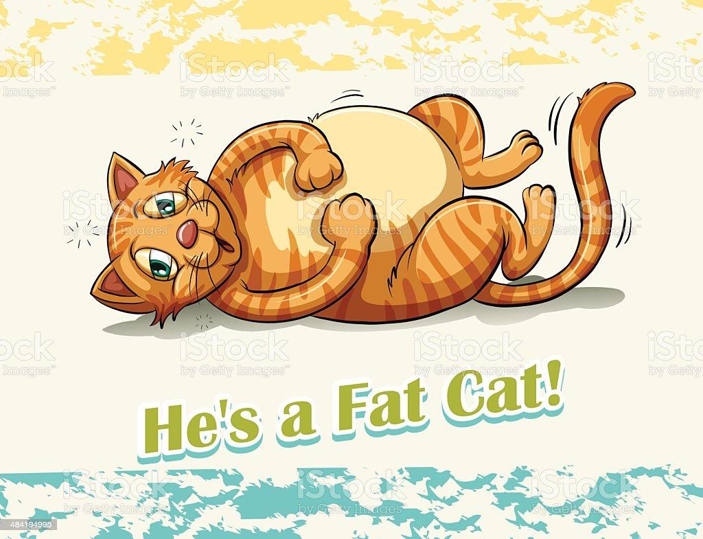 Fat cat vector art illustration