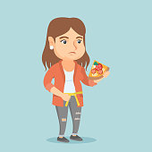 Fat caucasian woman holding a slice of pizza and measuring a waistline with a centimeter tape. Fat woman eating pizza and holding a tape on her waistline. Vector cartoon illustration. Square layout.