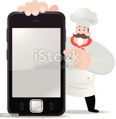 istock Fat chef holding a smartphone and showing something 165731329