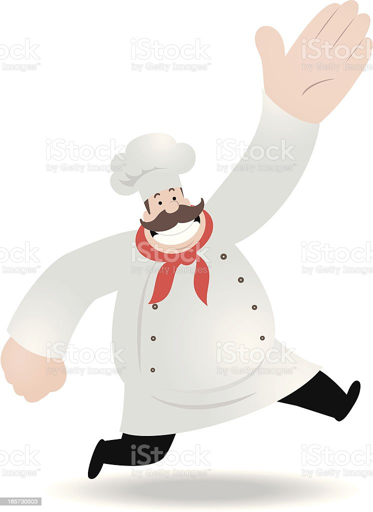 Fat Chef Running And Greeting royalty-free stock vector art