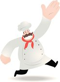Vector illustration - Fat Chef Running And Greeting.