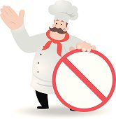 istock Fat Chef showing a prohibition sign 165738158