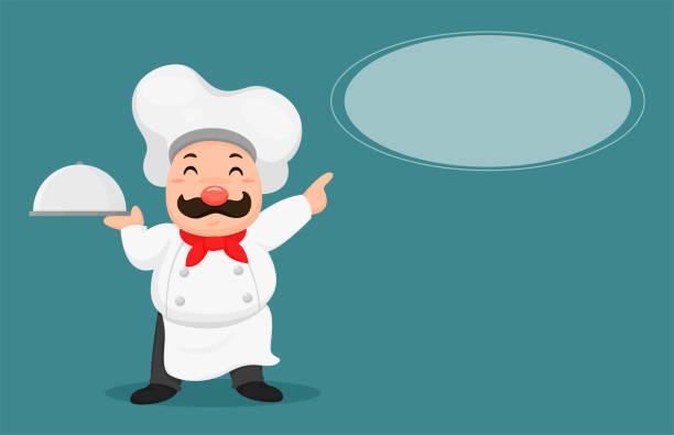 ilustraciones, imágenes clip art, dibujos animados e iconos de stock de los chefs gordos recomiendan menús de clientes. - busy restaurant kitchen