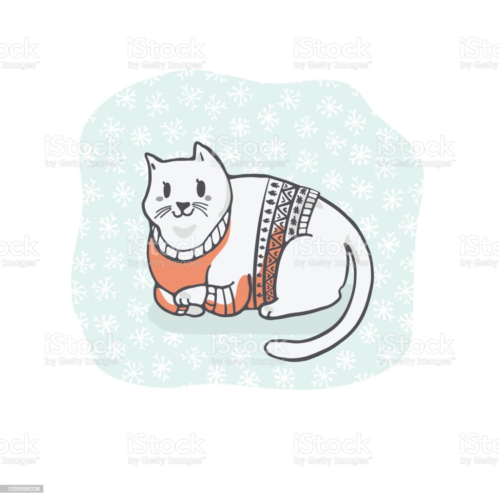 Fat Christmas Cat In Embroidery Sweater Clipart Hand Drawn Cat Lover