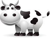 vector illustration of fat cow cartoon for you design