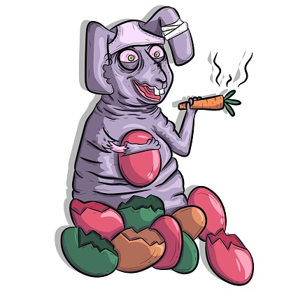 Conejito de Pascua gordo sentado, fumando una zanahoria y bebiendo huevos. Arte conceptual de conejo apedreado divertido.