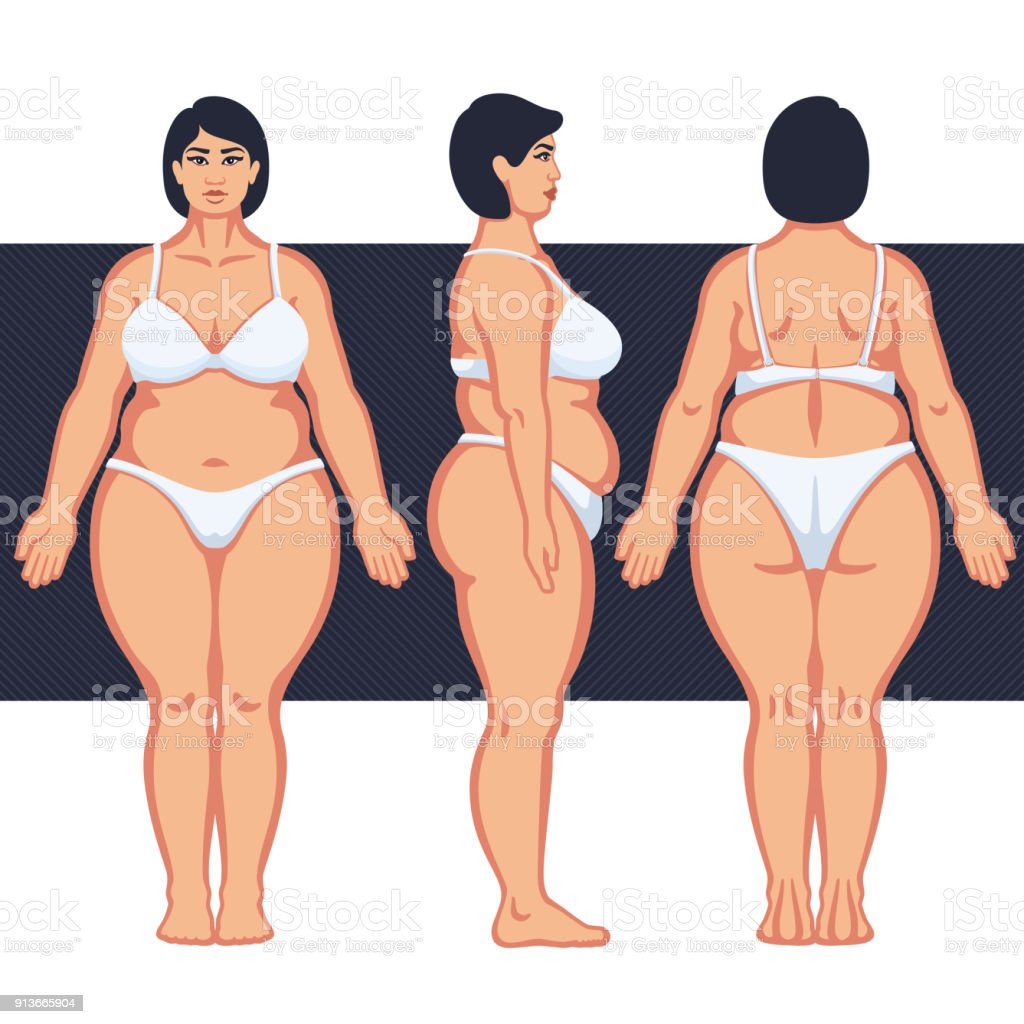 Ilustración de Cuerpo De La Mujer Gorda Con Ropa Interior y más ...