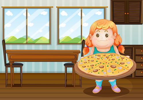 Fat girl holding a circle of pizza