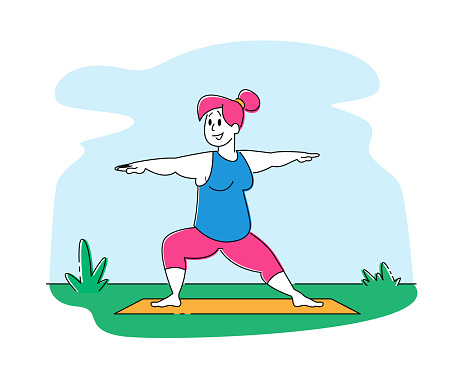 Fat Girl in Sports Wear Engage Fitness or Yoga Activity on Outdoors Nature Background. Overweight Woman Character Healthy Sport Life Aerobics Pilates Workout Training Class. Linear Vector Illustration