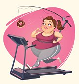Fat girl is running. Vector illustration.
