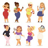 Fat people vector girl flat character icons. Body symbol people fat girl in red dress with hair curlers. Healthy fitness lifestyle person fat girl sport body overweight health human large body.