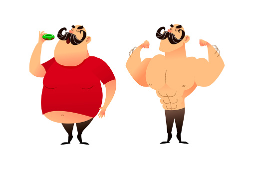 A fat guy and an athlete. Before and after. Doing sports and eating healthy concepts. A man with obesity is eating a donut. The strongman and the wrestler show their muscles. Successful weight loss and great shape