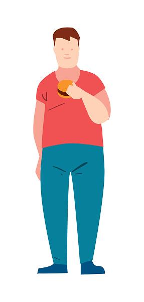 Fat guy eating burger vector illustration
