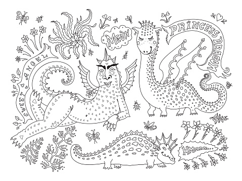 A fat  lying dragon woman in bicycle gloves, saying meow, little dinosaur princess. Linear cartoon black sketch on a white background. Tee-shirt print, adults coloring book page, poster, book cover