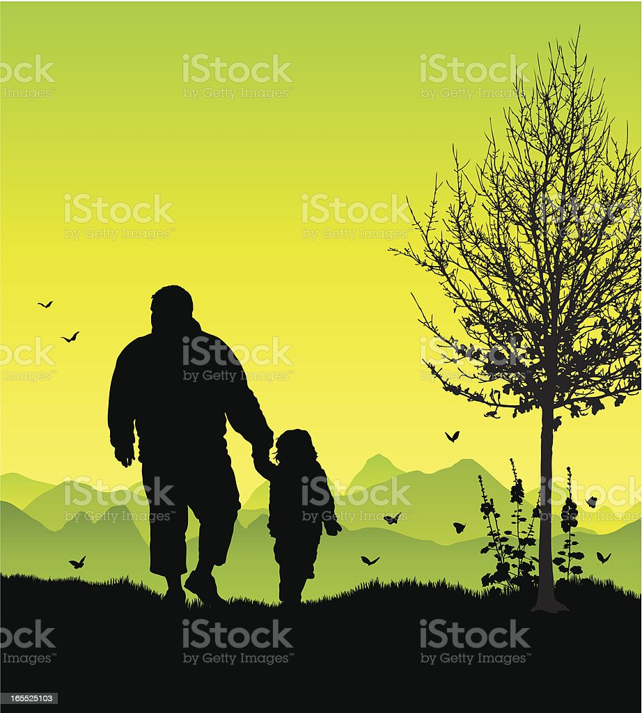 Fat man and child on a walk silhouetted royalty-free stock vector art