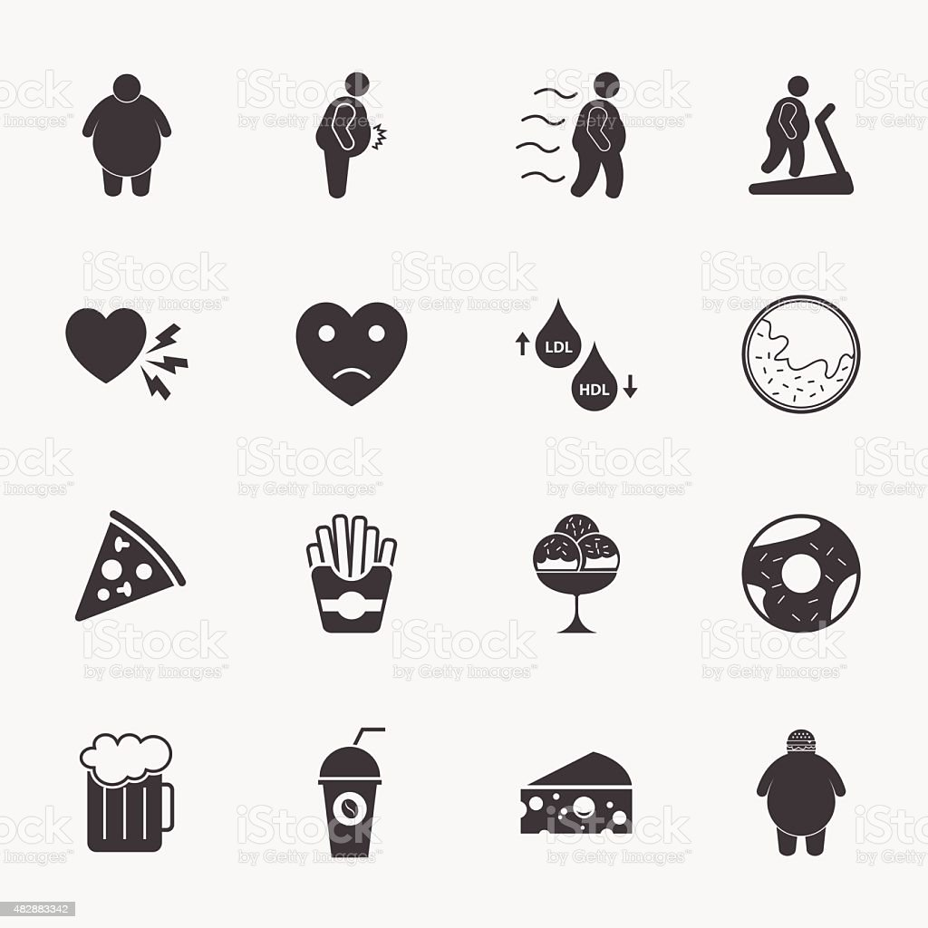 Fat Man And Junk Food Icons Set Stock Vector Art Amp More