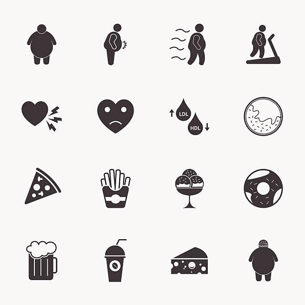 fat man and junk food icons set. fat man and junk food icons set. lipid stock illustrations