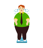 Fat man cries on the scales. Vector illustration