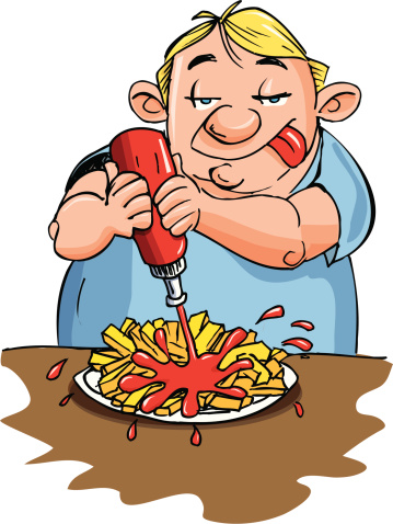 Fat man eating fries with ketchup
