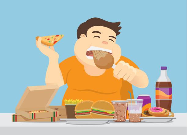 ilustrações de stock, clip art, desenhos animados e ícones de fat man enjoy with a lot of fast food on the table. - eating