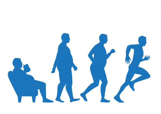 Fat man get out of sofa and change to slim shape with run. Fat man get out of sofa and change his body to slim shape in 4 step with run. This illustraion about exercise concept. weight loss stock illustrations